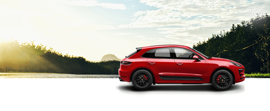 2018 Porsche Macan Side Exterior in Red- hover for lifestyle exterior